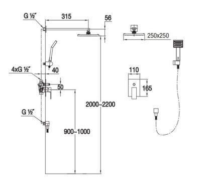 Zestaw prysznicowy podtynkowy TOR-ZKP.150C Blue Water