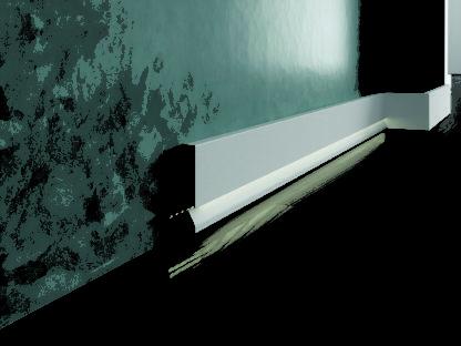 Biała lakierowana listwa oświetleniowa przypodłogowa do podświetleń cokół Creativa LPC-29M-LE